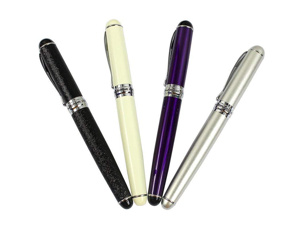 Ranvi JinHao 750 Fountain Pen, Medium Metal Nib With Ink Converter,4 PCS,4 Colors (purple, white, champagne silver, matte black)