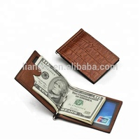 Custom magic leather mens wallet with money clip