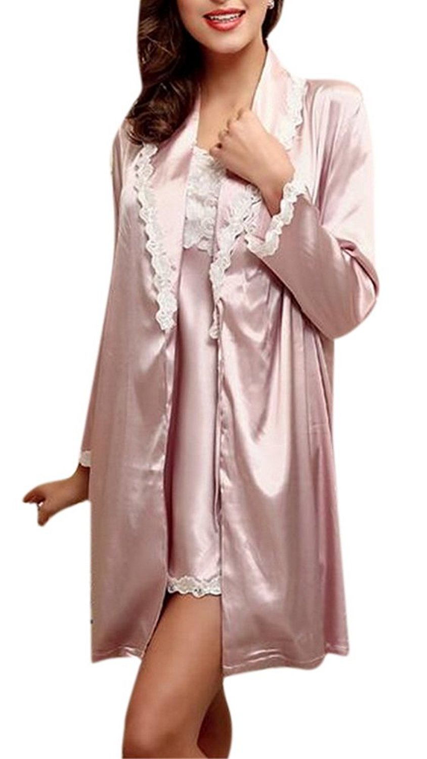 a437b617d6 Get Quotations · Youtobin Women s Long Sleeve Satin Pajama Set 2 Piece Robe  and Nightgown Set