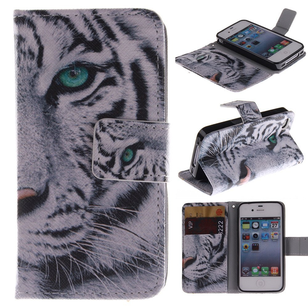 4S Case,IVY [Kickstand Feature][Money Card Slot] iPhone 4S 4 Wallet Case [Double Sided Design][White Tiger] Premium Soft TPU Synthetic Leather Wallet Cover - Verizon, AT&T, Sprint, T-Mobile, International, and Unlocked - Synthetic Leather Case For Apple iPhone 4S 4