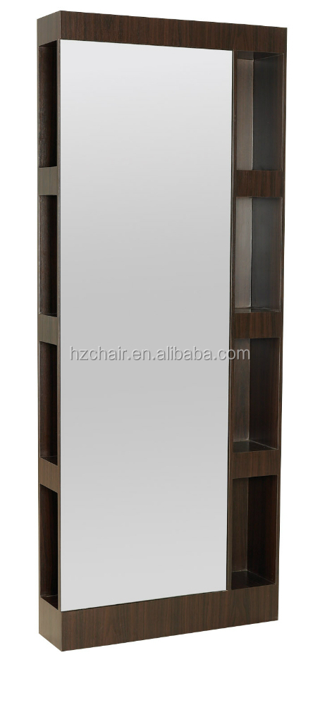 wood with learhter salon styling mirror; elegant glass comestic mirror