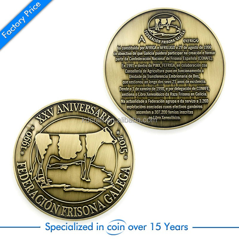 Wholesale china no minimum custom metal brass embossed logo replica antique old coins for buyers