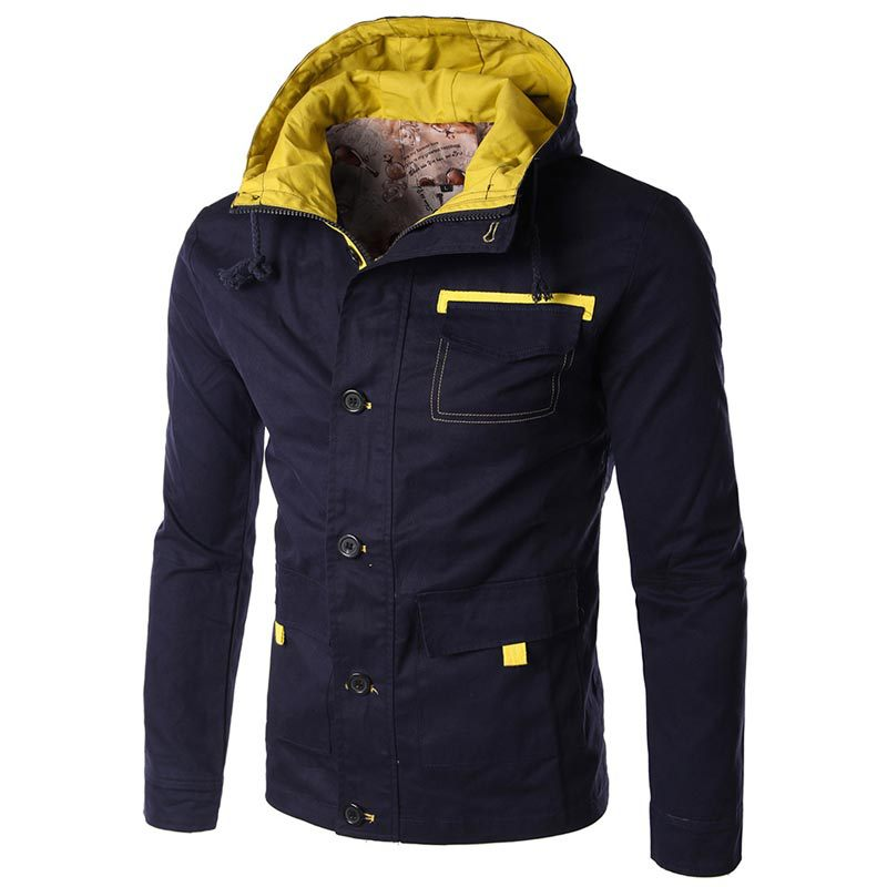 Men's Hoodied Jacket Brand Fashion Autumn Winter Men Jacket Coat Outwear Casual Slim Fit Bomber Jackets Men Navy Varsity Jacket