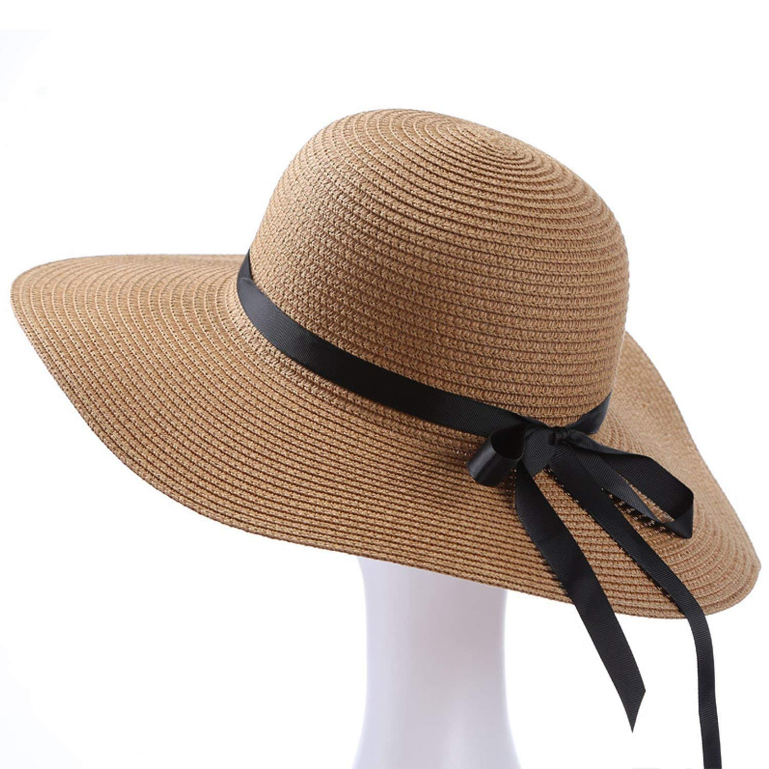fca48bf4 Get Quotations · Women's Big Wide Brim Sun Hat Floppy Foldable Bowknot  Straw Hat Roll up Beach Cap