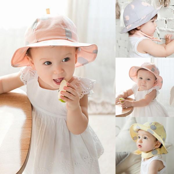 Cute Toddler Sun Cap Polka Dot Summer Outdoor Baby Girl Sun Beach Bucket Hat