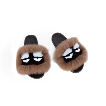 Wholesale new design handmade fur slide sandals real fox fur monster slippers women fox slides indoor