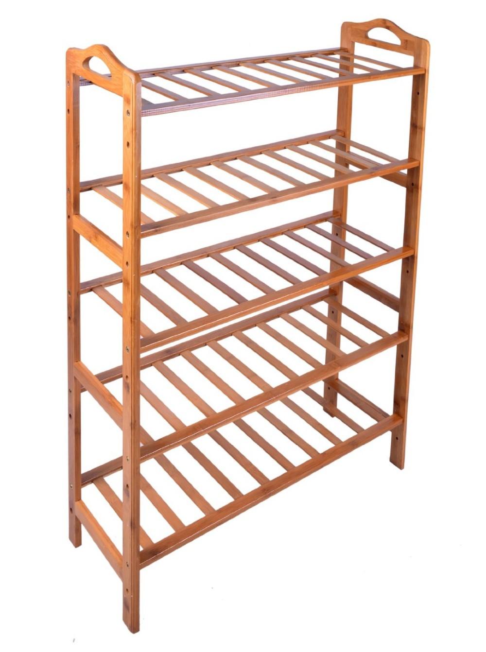 Bamboo Slanted Entryway Floor Shoe Shelf 3
