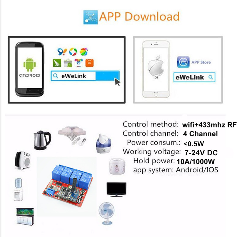 4ch 7v 9v 12v 24v Dc Wifi Light Switch Controlled By Cellphone App,Rf  433mhz Remote Control Wireless Relay Module Switches - Buy Smart Home,Led