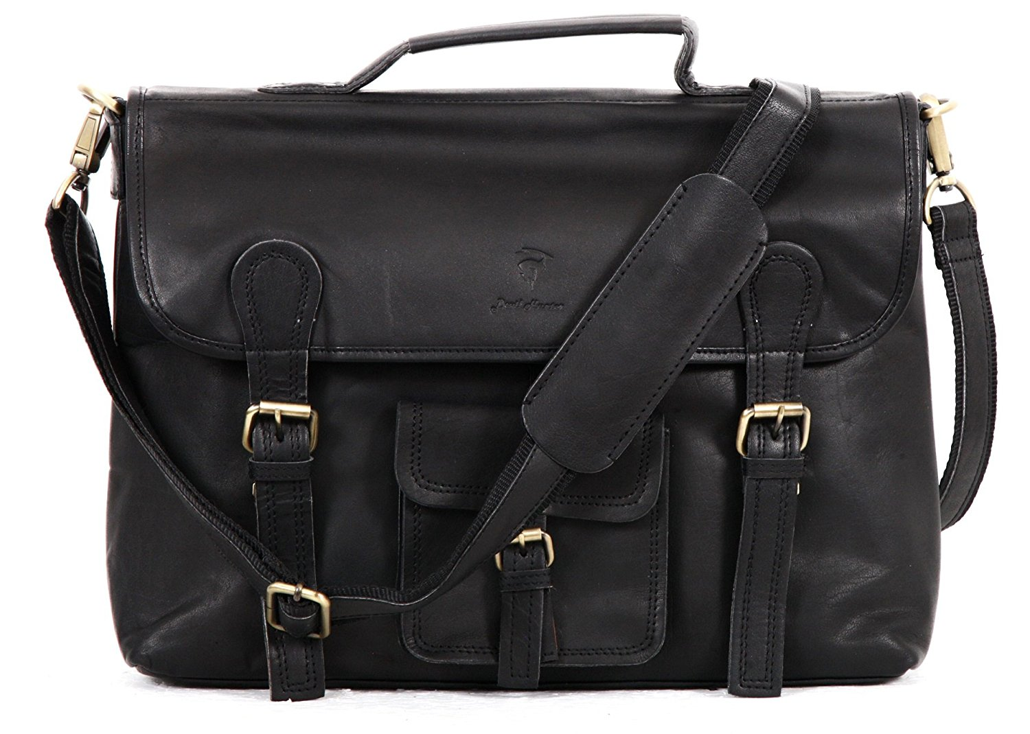 DH Leather Unisex Real Leather Messenger Bag for Laptop Briefcase Satchel ...