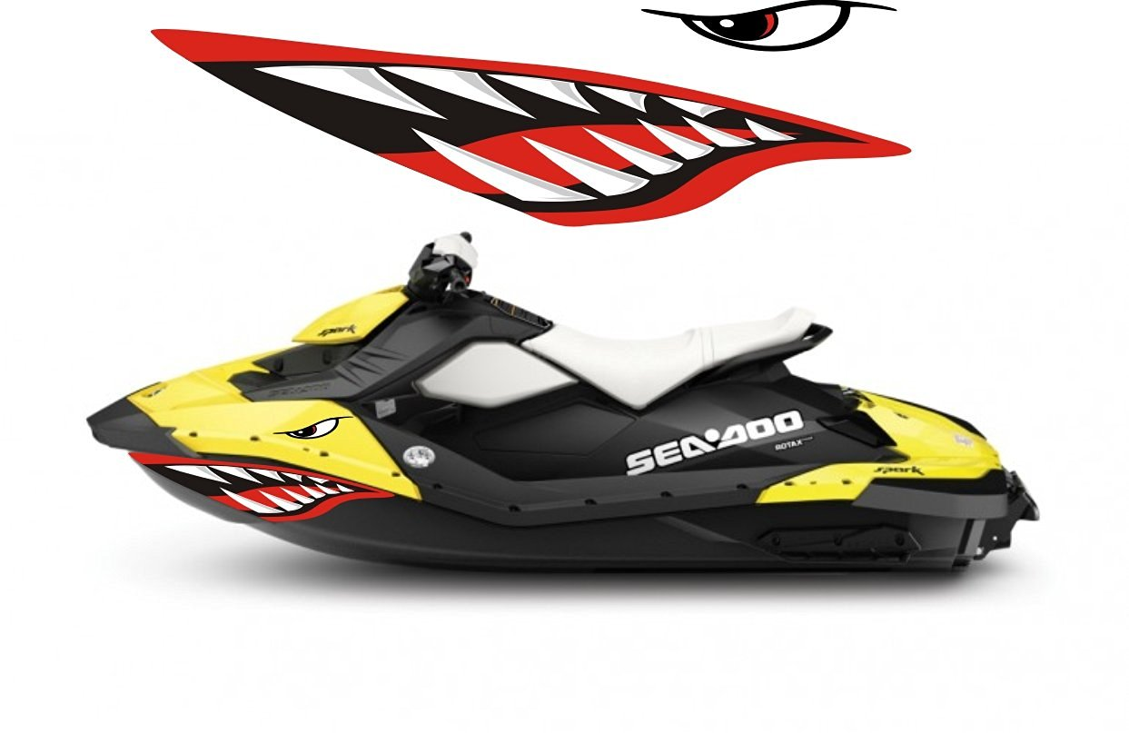 Sea-doo Bombardier Spark 2 3 Jet Graphic Wrap Jetski Seadoo Shark Mouth JET  SKI