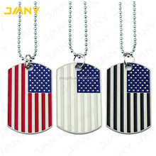 Custom Jewelry American US Flag Pendant Dog Tag Charm Necklace Army Style Gift