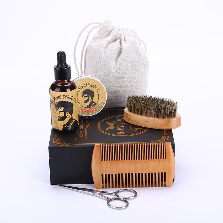 Beard comb and brush set men's wooden box beard shaping tool Perfect Facial Hair Grooming Kit