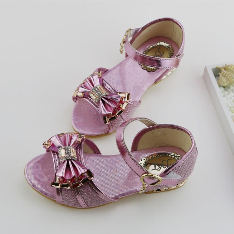 Летний новый бабочкой голова рыбы ребенка обувь дети девушки сандалии гладиаторов кристалл горного хрусталя высокие каблуки для новорожденных девочек TX78
