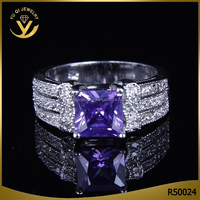 Square Unisex High Quality Diamond Jewelry White Gold Plated Zircon Synthetic Diamond Ring