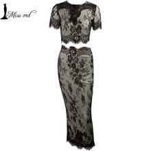 Elegantné dámske šaty dlhé s čipkou rozdelené na dve časti z Aliexpress