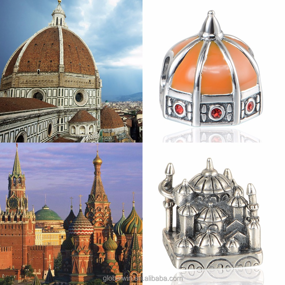 The Dome of Florence Cathedral Building 925 Silver Charms bead Wholesale Tourist Season bulk charm Custom Made Beads T157