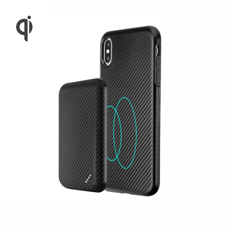 Mini Slim Portable Battery Charger Power Supply Dompet Magnetik Qi Wireless Pengisian Mi Power Bank Case untuk iPhone 8 PLUS XS Max