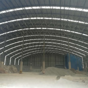 Large span steel space frame coal storage bin with steel structure materials.