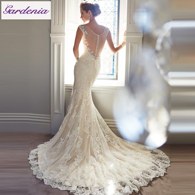 Free Veil Vestido De Noiva Lace Mermaid Wedding Dress Low