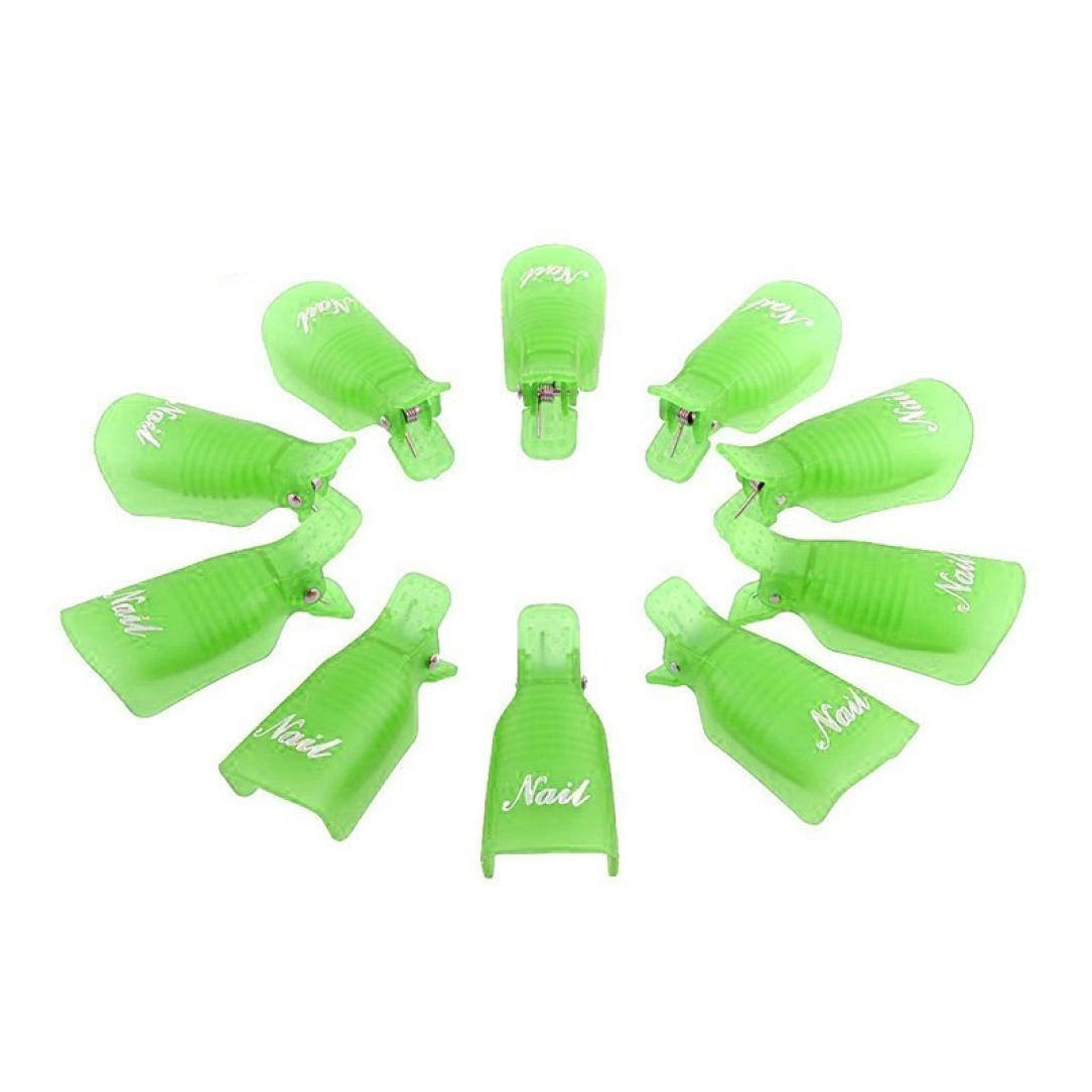 Creazy® 10pc Plastic Nail Art Soak Off Cap Clip Uv Gel Polish Remover Wrap Tool (Green)