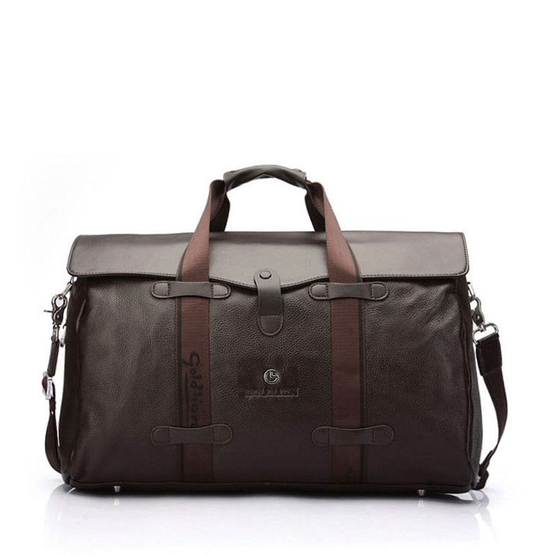d3aa666c8d79 Get Quotations · high quality mens genuine leather duffle travel bag large  capacity fashion black brown business leather weekend