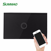 Wholesale Smart Home Wifi Touch Controlled Wall Switch US AU Standard 1-3 Gang Wifi Light Switch