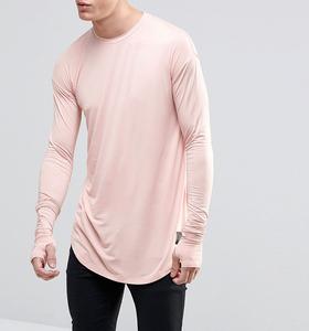 Custom Men's T-shirt Printing Cotton Fashion Clothing Longline Curved Hem Long Sleeve Men's T-shirt