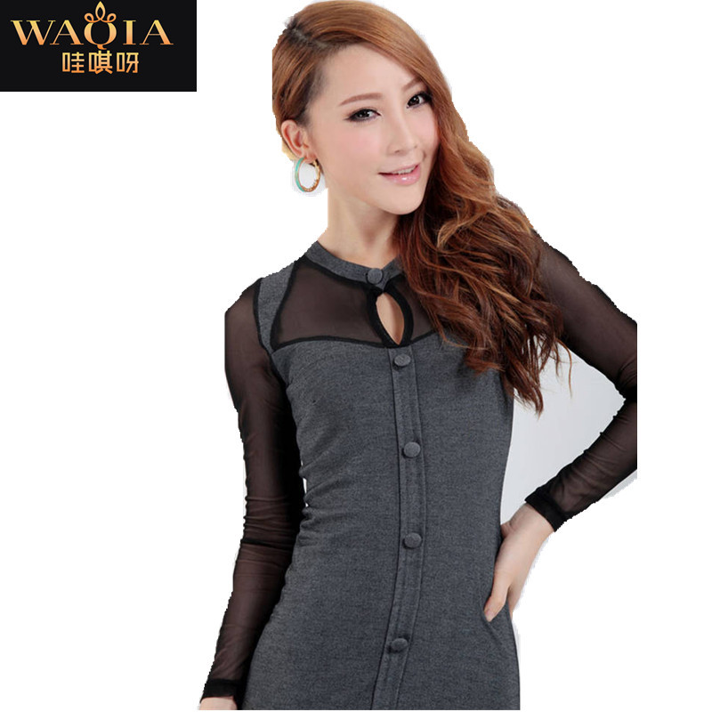 2f0c8f483025 Get Quotations · 2015 new Promotions hot trendy cozy fashion women clothes  casual sexy dress Gauze long sleeve bottoming