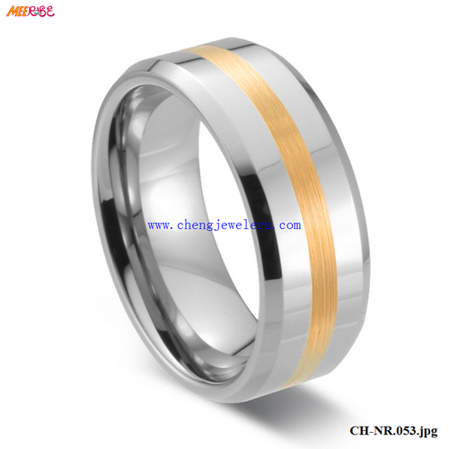 Real Gold Jewelry 14k gold rings china Gold inlaid tungsten carbide ring