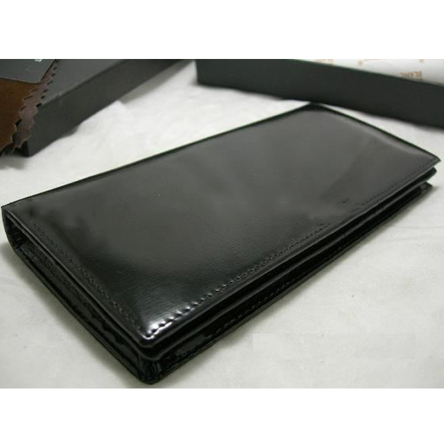 Glossy Leather Long Wallet