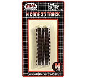 """N Code 55 Nickel Silver 17.5"""" Radius Half Curve Track (6) Atlas Trains"""