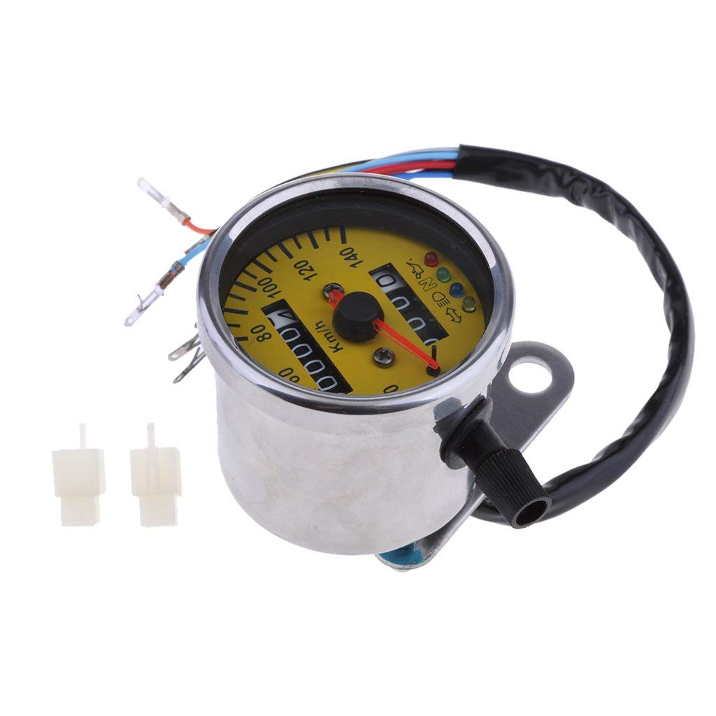MagiDeal 60mm Yellow Face Motorcycle LED Speedometer Odometer Gauge With Indicator