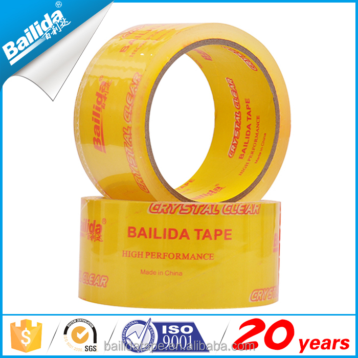 New products super clear packaging tape with yellow paper core