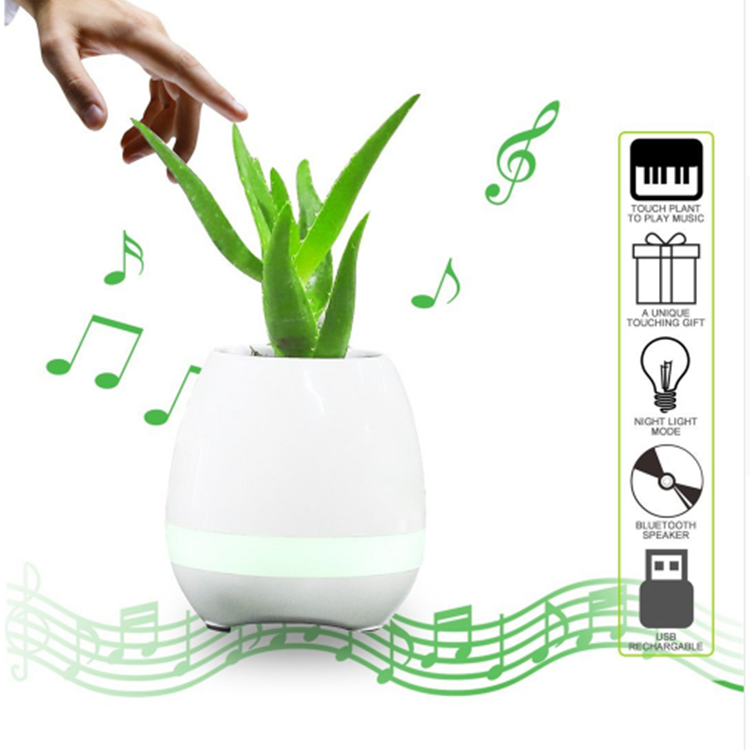Smart LED Wireless Bluetooth Speaker Music Flower Pot Touch Plant Can Sing Song Funny Loud speaker
