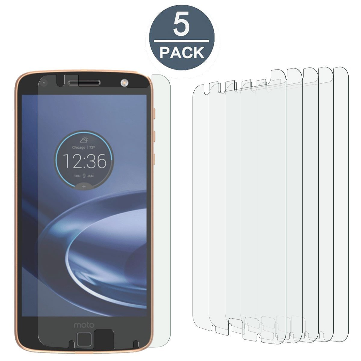 [5 Pack]Motorola Moto Z Force Droid High Defintion Ultra Clear Screen Protector Film(Not Glass) For Motorola Moto Z Force Droid(HD Clear)