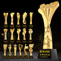 2019 New Design Gold crown Resin Crystal award glass trophy With K9 Quality Base