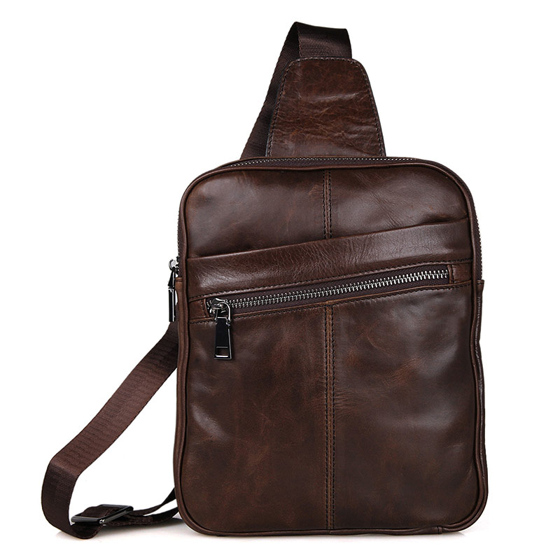 7217C-1 Genuine Leather New Style Men's Chest Sling Bag