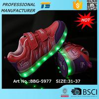 Kids Usb Charge 7 Colors Shining Led Luminous Shoes