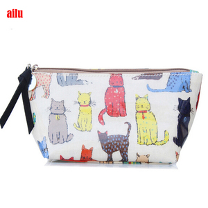 aliababa Factory wholesale small makeup bags cosmetic bags cat print basics contents cosmetic bag for travelling