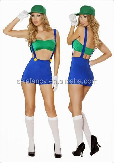 Ladies Fancy Dress Halloween Super Mario And Luigi Costume Women