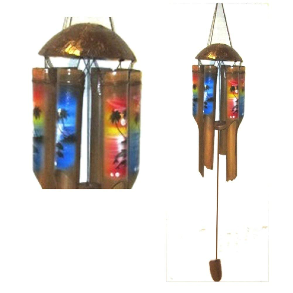 """Chesapeake Bay 36"""" Coconut Bamboo Painted Wind Chime with Seaside Flower Designs 23797 Beautiful Sound"""