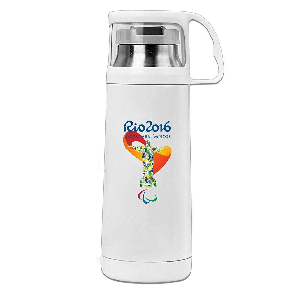 HandSon J3G9 Stainless Steel Vacuum Insulated Travel Tumbler Rio 2016 Cristo Redentor Paralympics Insulated Vacuum Cup White 14oz/350ml