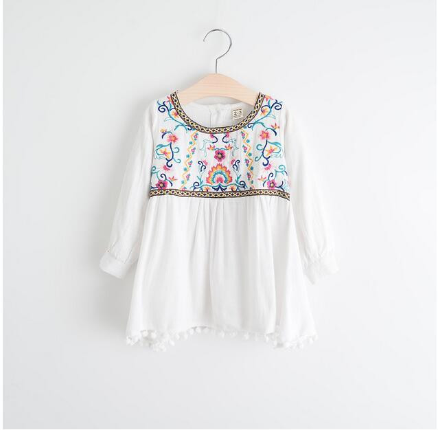YW60134141 Retail 2016 Baby Spring Girl Blouses Solid Embroidery Floral Full Sleeve Girl Top Girl Clothes
