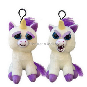 creative funny unicorn 15cm mini change face key-chain bag pendant gift plush toy doll
