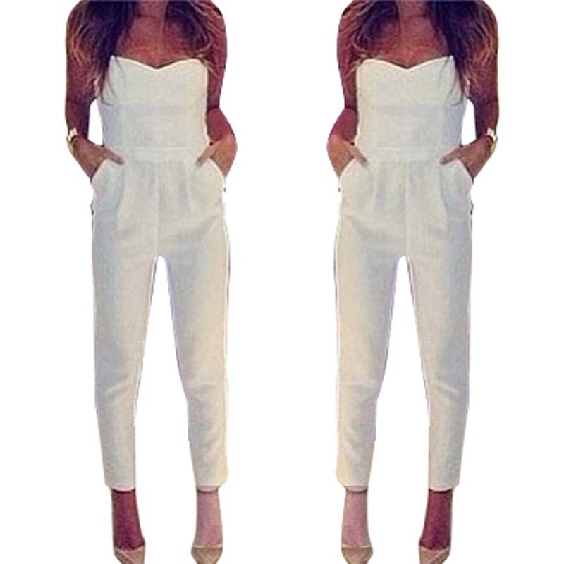 1fd2965a9d5 Women Overalls White Black Sexy V Bodysuit Elegant Strapless Playsuit  Bandage Jumpsuits Summer Pencil Pants Leggings ZLY107