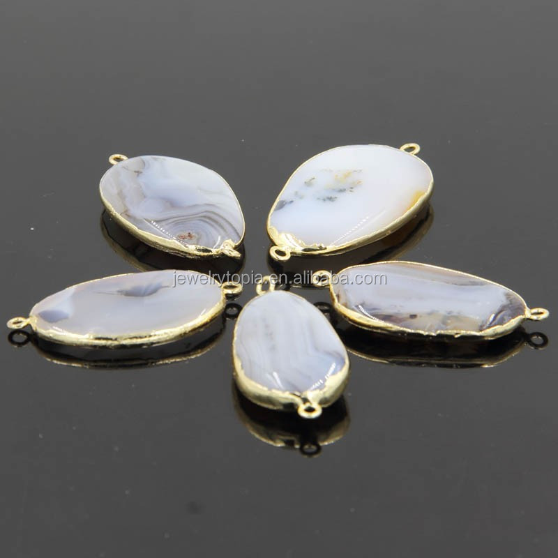 2015 New Oval Natural White Agate Gemstone Connectors Wholesale