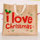 OEM custom size full color print jute tote shopping bag for Christmas chilli