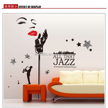 Special Design Marilyn Monroe Wall Decals,Words And Jazz Singer Music Wall  Stickers Removable Large