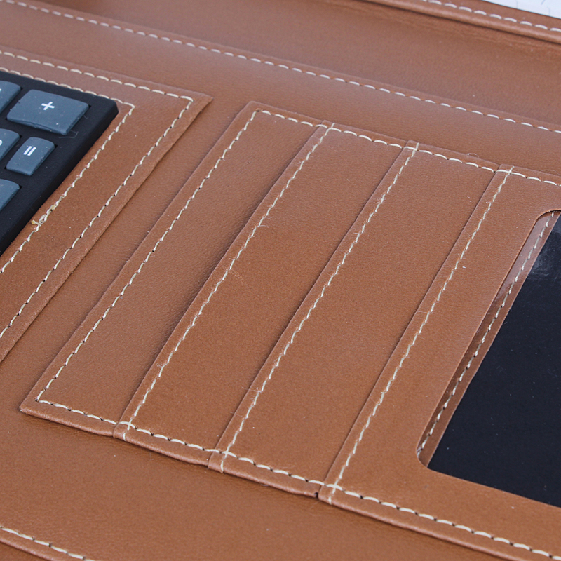 Fashionable custom high quality leather notebook as business gift can calculation and put business card, id card, bank card