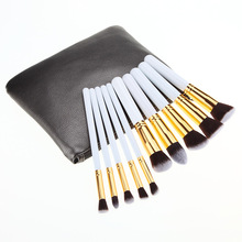 OEM private label 10pcs white golden cosmetic makeup brush set with leather bag
